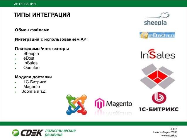 СDEKНовосибирск 2013www.cdek.ruТИПЫ ИНТЕГРАЦИЙОбмен файламиИнтеграция с использованием APIПлатформы/интеграторы● Sheepla● ...