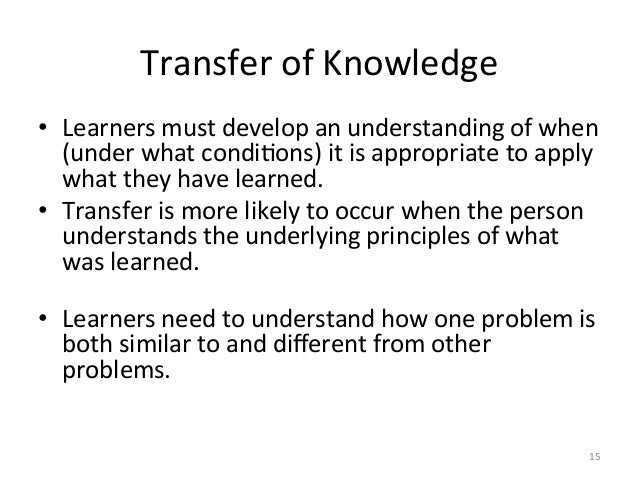 Transfer of Knowledge • Learners must develop an understanding of when (under what condiAons) i...