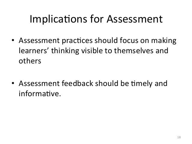 ImplicaAons for Assessment • Assessment pracAces should focus on making learners' thinking visible...