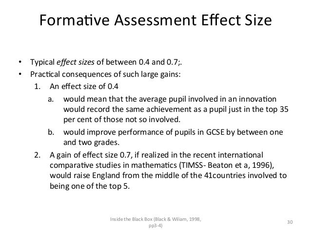 FormaAve Assessment Effect Size  • Typical effect sizes of between 0.4 and 0.7;.  • PracAcal ...