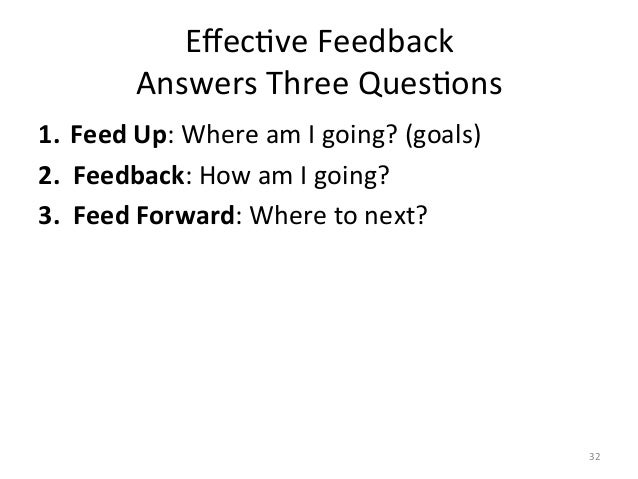 EffecAve Feedback  Answers Three QuesAons   1. Feed Up: Where am I going? (goals) 2.  ...