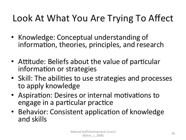 Look At What You Are Trying To Affect • Knowledge: Conceptual understanding of informaAon, theor...
