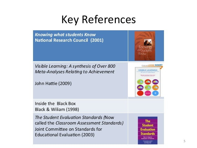 Key References Knowing what students Know  Na4onal Research Council  (2001)    Visible Lea...
