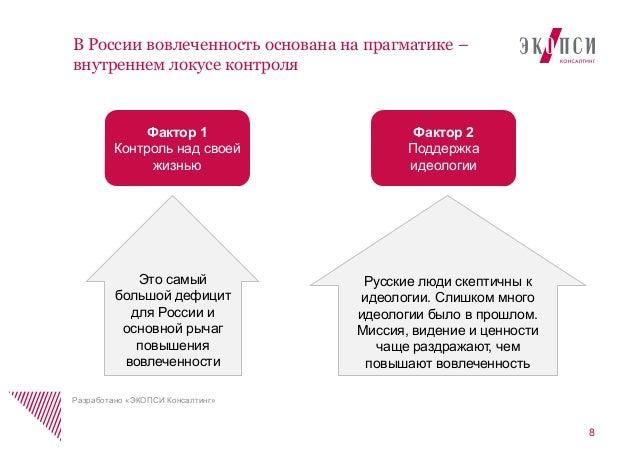 8В России вовлеченность основана на прагматике –внутреннем локусе контроляРазработано «ЭКОПСИ Консалтинг»Фактор 1Контроль ...