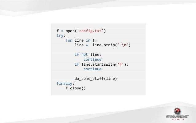 def iterate_lines(f):for line in f:line = line.strip( n)if not line:continueif line.startswith(#):continueyield line