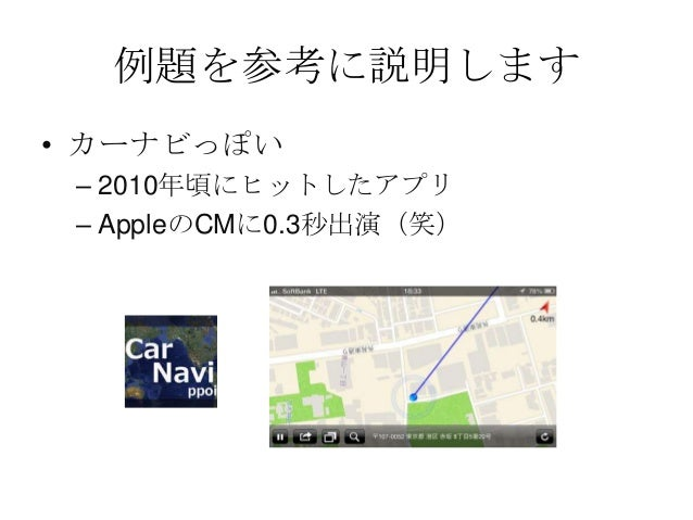 例題を参考に説明します• カーナビっぽい– 2010年頃にヒットしたアプリ– AppleのCMに0.3秒出演(笑)