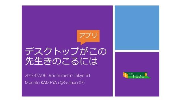 デスクトップがこの 先生きのこるには 2013/07/06 Room metro Tokyo #1 Manato KAMEYA (@Grabacr07) アプリ