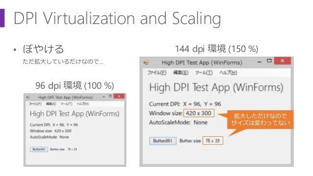 DPI Virtualization and Scaling • ぼやける ただ拡大しているだけなので… 96 dpi 環境 (100 %) 144 dpi 環境 (150 %) 拡大しただけなので サイズは変わってない