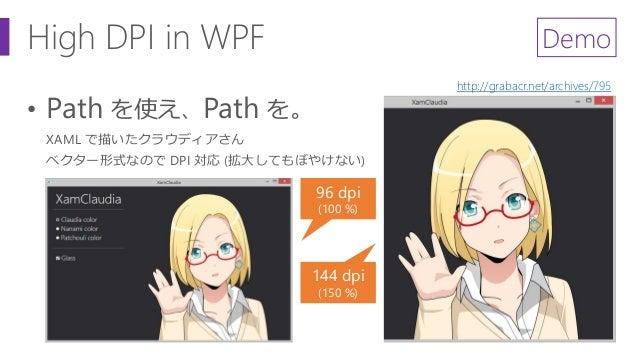 High DPI in WPF • Path を使え、Path を。 96 dpi (100 %) 144 dpi (150 %) http://grabacr.net/archives/795 Demo XAML で描いたクラウディアさん ベ...