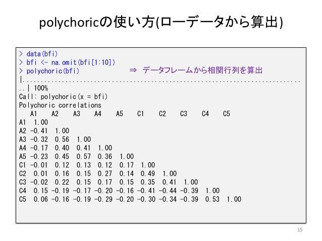polychoricの使い方(ローデータから算出) 15 > data(bfi) > bfi <- na.omit(bfi[1:10]) > polychoric(bfi)  .....................................