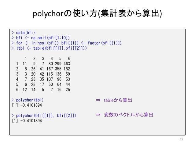 polychorの使い方(集計表から算出) 17 > data(bfi) > bfi <- na.omit(bfi[1:10]) > for (i in ncol(bfi)) bfi[[i]] <- factor(bfi[[i]]) > (tb...