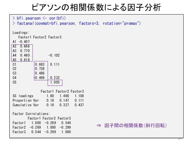 """ピアソンの相関係数による因子分析 23 > bfi.pearson <- cor(bfi) > factanal(covmat=bfi.pearson, factors=3, rotation=""""promax"""") Loadings: Facto..."""