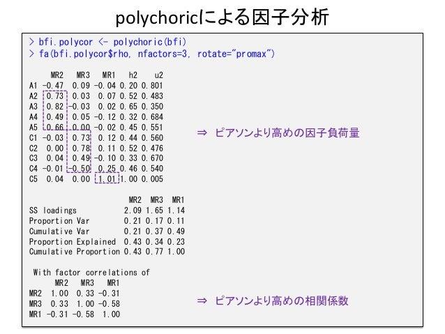 "polychoricによる因子分析 24 > bfi.polycor <- polychoric(bfi) > fa(bfi.polycor$rho, nfactors=3, rotate=""promax"") MR2 MR3 MR1 h2 u2..."