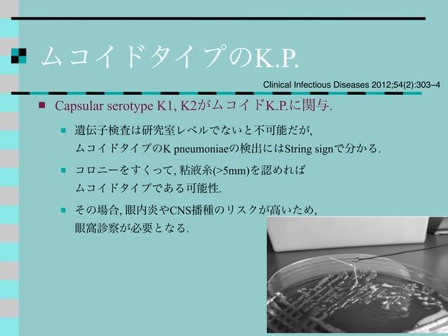 ムコイドタイプのK.P.  Capsular serotype K1, K2がムコイドK.P.に関与.  遺伝子検査は研究室レベルでないと不可能だが, ムコイドタイプのK pneumoniaeの検出にはString signで分かる.  ...