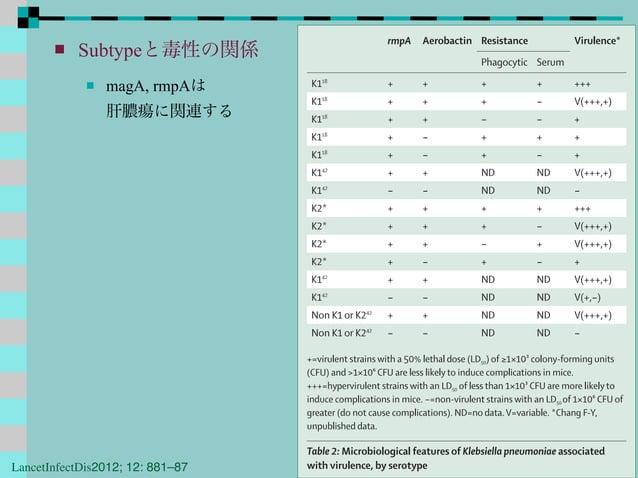  Subtypeと毒性の関係  magA, rmpAは 肝膿瘍に関連する rmpA Aerobactin Resistance Virulence* Phagocytic Serum K118 + + + + +++ K118 + + + ...