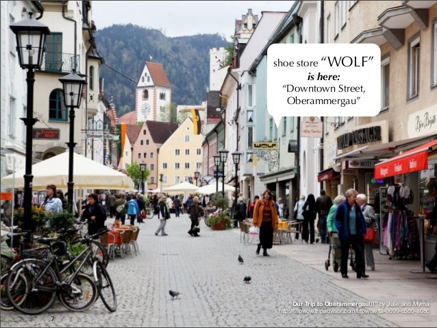 """7 shoe store """"WOLF"""" is here: """"Downtown Street, Oberammergau"""" """"Our Trip to Oberammergau!!!"""" by Julie and Myrna http://tripw..."""