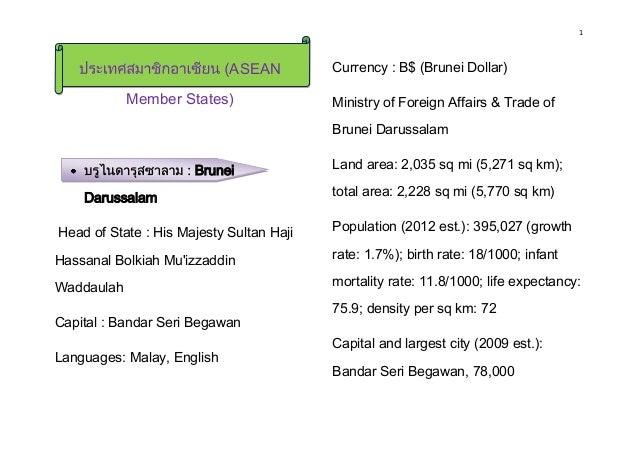 1 ASEAN Member States) Brunei Darussalam Head of State : His Majesty Sultan Haji Hassanal Bolkiah Mu'izzaddin Waddaulah Ca...