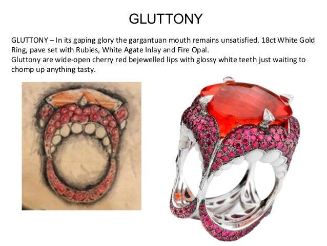 GLUTTONY–Initsgapingglorythegargantuanmouthremainsunsatisfied.18ctWhiteGold Ring,pavesetwithRubies,Whit...