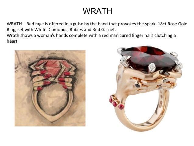 WRATH–Redrageisofferedinaguisebythehandthatprovokesthespark.18ctRoseGold Ring,setwithWhiteDiamonds,...