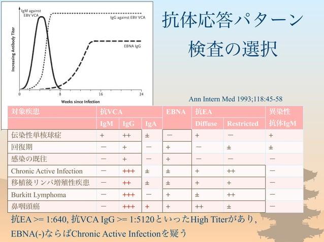 抗体応答パターン 検査の選択 抗EA >= 1:640, 抗VCA IgG >= 1:5120といったHigh Titerがあり, EBNA(-)ならばChronic Active Infectionを疑う Ann Intern Med 199...