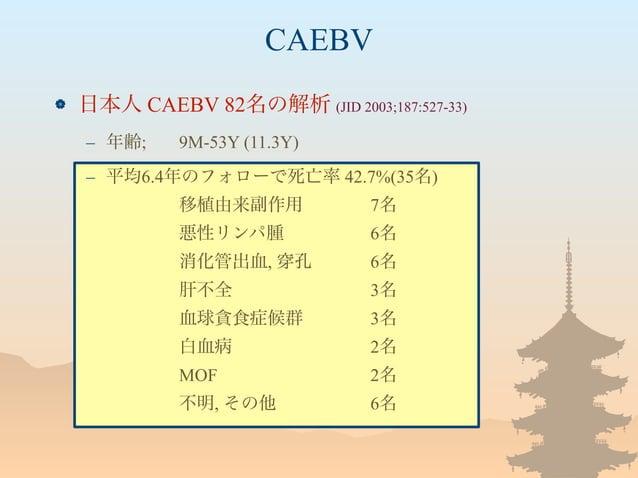 CAEBV  日本人 CAEBV 82名の解析 (JID 2003;187:527-33) – 年齢; 9M-53Y (11.3Y) – 平均6.4年のフォローで死亡率 42.7%(35名) 移植由来副作用 7名 悪性リンパ腫 6名 消化管出...