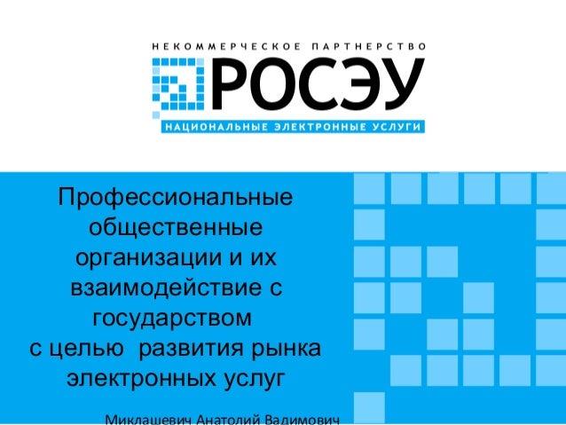 Профессиональные общественные организации и их взаимодействие с государством с целью развития рынка электронных услуг