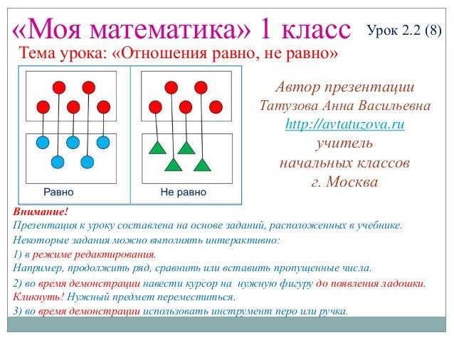 «Моя математика» 1 класс Урок 2.2 (8) Тема урока: «Отношения равно, не равно» Некоторые задания можно выполнять интерактив...