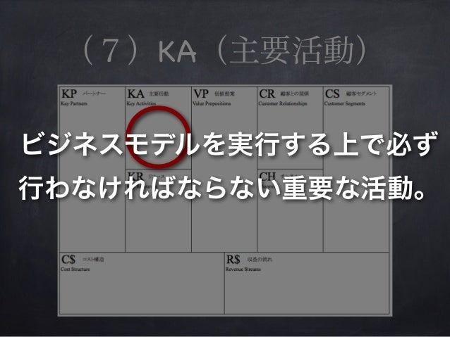 (7)KA(主要活動) ビジネスモデルを実行する上で必ず 行わなければならない重要な活動。