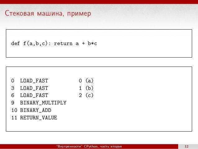 Стековая машина, пример def f(a,b,c): return a + b*c 0 LOAD_FAST 0 (a) 3 LOAD_FAST 1 (b) 6 LOAD_FAST 2 (c) 9 BINARY_MULTIP...