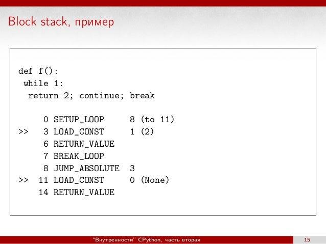 Block stack, пример def f(): while 1: return 2; continue; break 0 SETUP_LOOP 8 (to 11) >> 3 LOAD_CONST 1 (2) 6 RETURN_VALU...
