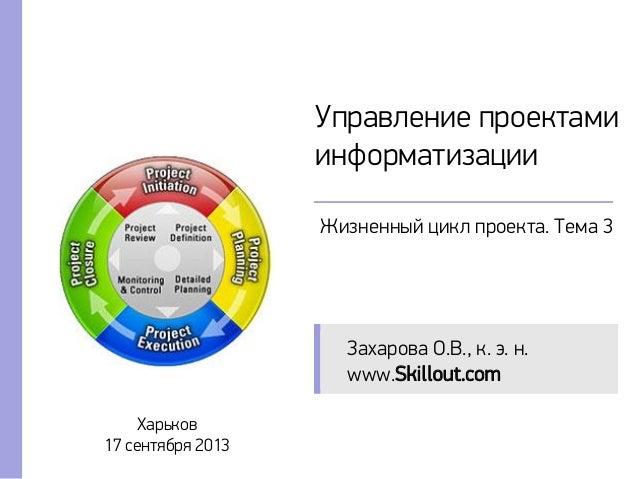 Управление проектами информатизации Жизненный цикл проекта. Тема 3 Харьков 17 сентября 2013 Захарова О.В., к. э. н. www.Sk...