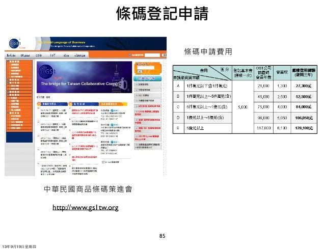 85 http://www.gs1tw.org 條碼登記申請 中華民國商品條碼策進會 條碼申請費用 13年9月19⽇日星期四