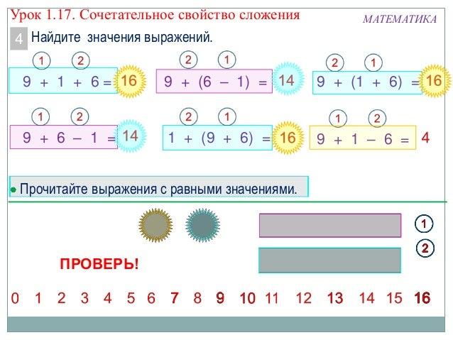 Найдите значения выражений. МАТЕМАТИКА 9 + (1 + 6) =9 + 1 + 6 = 4 9 + (6 – 1) = 9 + 1 – 6 =1 + (9 + 6) =9 + 6 – 1 = Прочит...