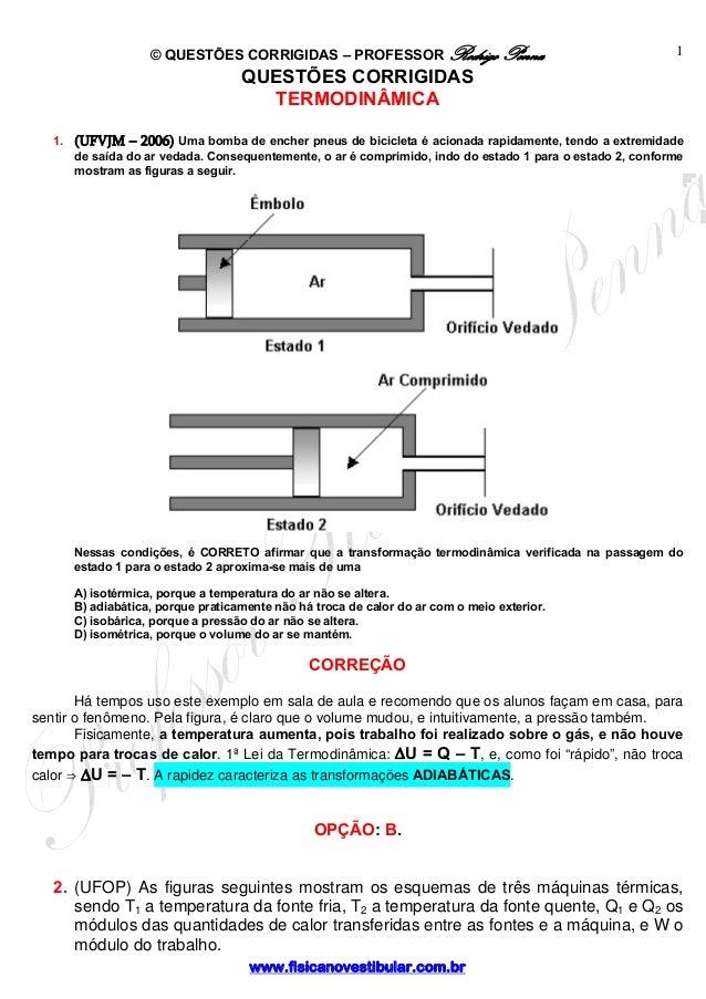 © QUESTÕES CORRIGIDAS – PROFESSOR Rodrigo Penna www.fisicanovestibular.com.br 1 QUESTÕES CORRIGIDAS TERMODINÂMICA 1. (UFVJ...