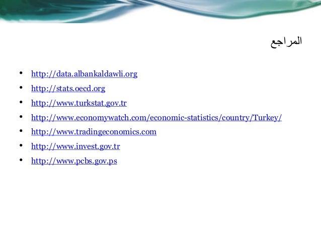 المراجع • http://data.albankaldawli.org • http://stats.oecd.org • http://www.turkstat.gov.tr • http://www.economywatch.c...
