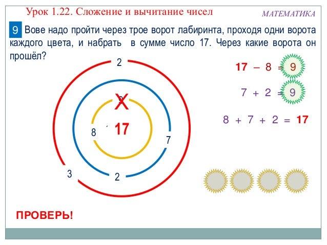 8 9 7 3 2 1017 2 МАТЕМАТИКА ПРОВЕРЬ! 7 + 2 = 9 17 – 8 = 9 8 + 7 + 2 = 17 Х Урок 1.22. Сложение и вычитание чисел Вове надо...