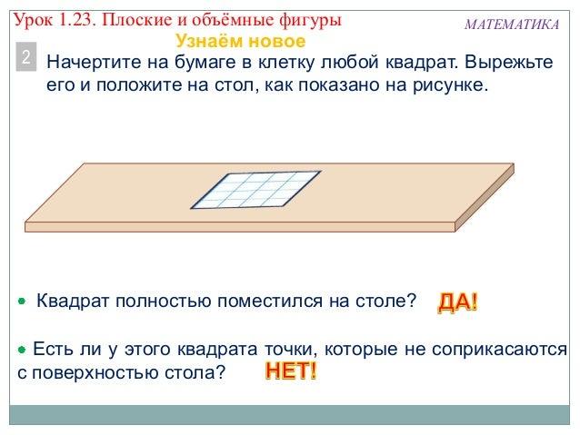 Есть ли у этого квадрата точки, которые не соприкасаются с поверхностью стола? Начертите на бумаге в клетку любой квадрат....