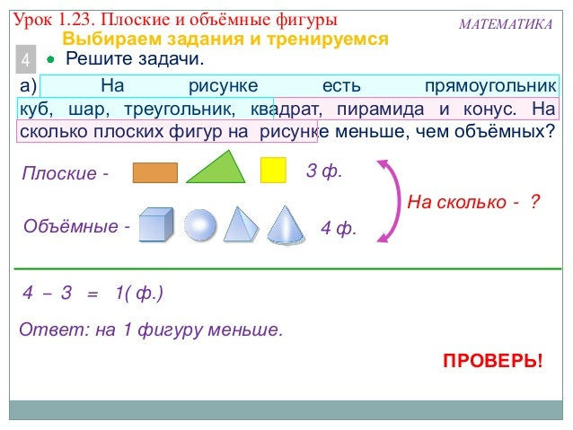 МАТЕМАТИКА Решите задачи.4 а) На рисунке есть прямоугольник куб, шар, треугольник, квадрат, пирамида и конус. На сколько п...