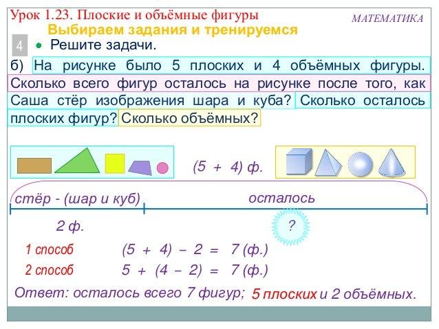 5 + (4 – 2) = 7 (ф.) МАТЕМАТИКА Решите задачи.4 б) На рисунке было 5 плоских и 4 объѐмных фигуры. Сколько всего фигур оста...