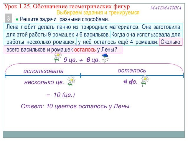 Урок 1.25. Обозначение геометрических фигур МАТЕМАТИКА Выбираем задания и тренируемся 3 5  Решите задачи разными способам...