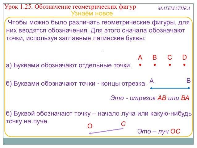 Урок 1.25. Обозначение геометрических фигур МАТЕМАТИКА Узнаём новое Чтобы можно было различать геометрические фигуры, для ...