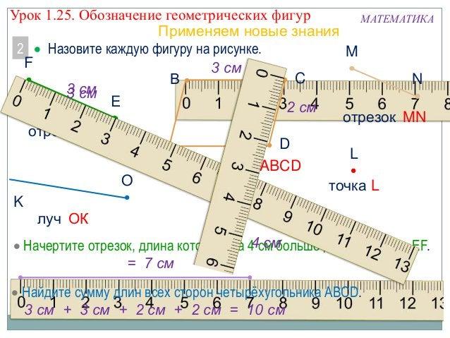 Урок 1.25. Обозначение геометрических фигур МАТЕМАТИКА Применяем новые знания 2  Назовите каждую фигуру на рисунке. M F ...
