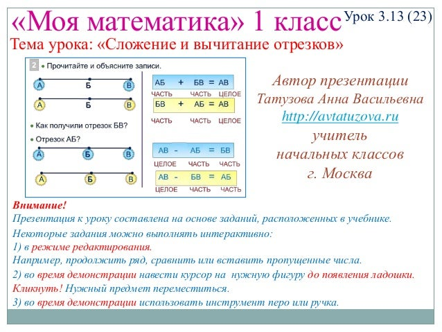 «Моя математика» 1 класс  Урок 3.13 (23)  Тема урока: «Сложение и вычитание отрезков» Автор презентации Татузова Анна Васи...