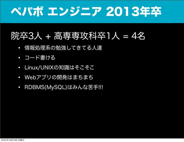 ペパボ エンジニア 2013年卒 院卒3人 + 高専専攻科卒1人 = 4名 • 情報処理系の勉強してきてる人達 • コード書ける • Linux/UNIXの知識はそこそこ • Webアプリの開発はまちまち • RDBMS(MySQL)はみんな苦...