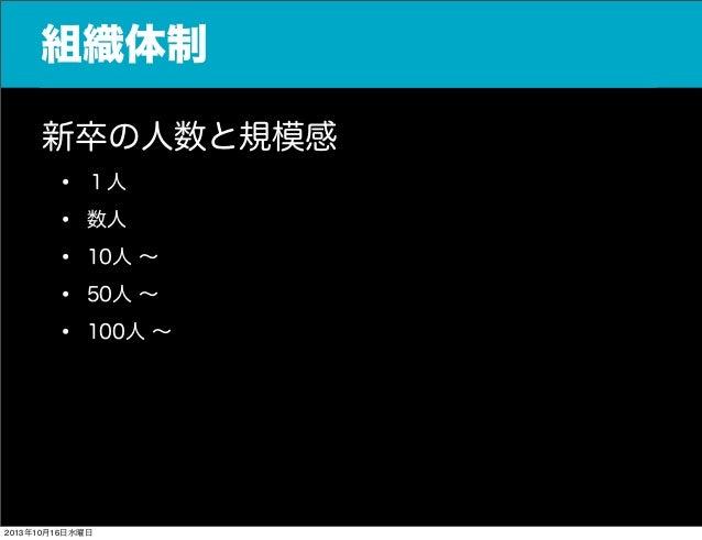 組織体制 新卒の人数と規模感 • 1人 • 数人 • 10人 ∼ • 50人 ∼ • 100人 ∼  2013年10月16日水曜日