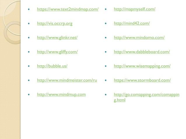   https://www.text2mindmap.com/    http://mapmyself.com/    http://vis.occrp.org    http://mind42.com/    http://www....