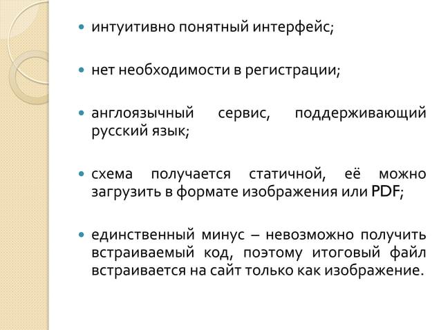   интуитивно понятный интерфейс;    нет необходимости в регистрации;    англоязычный русский язык;    схема получается...