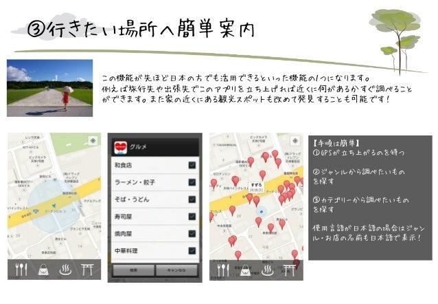 ③行きたい場所へ簡単案内 この機能が先ほど日本の方でも活用できるといった機能の1つになります。 例えば旅行先や出張先でこのアプリを立ち上げれば近くに何があるかすぐ調べること ができます。また家の近くにある観光スポットも改めて発見することも可能で...