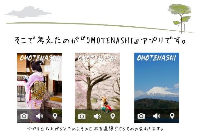 そこで考えたのが『OMOTENASHI』アプリです。  アプリ立ち上げると↑のように日本を連想できるものに変わります。