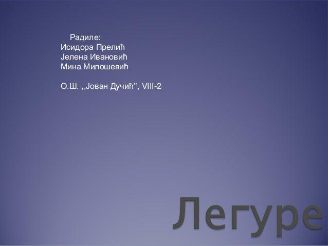 Радиле: Исидора Прелић Јелена Ивановић Мина Милошевић О.Ш. ,,Јован Дучић'', VIII-2